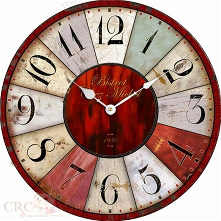 product details of 30cm vintage european style wooden wall clock red