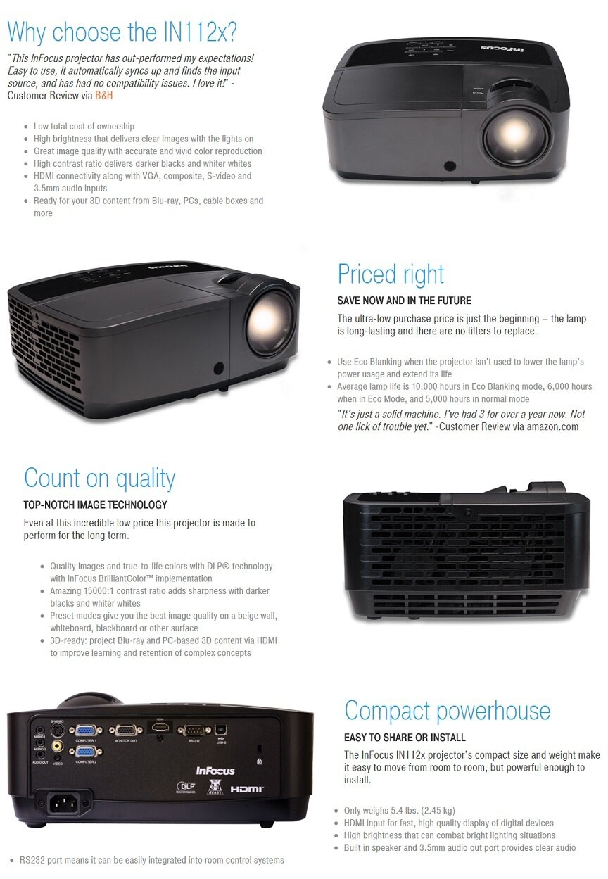 INFOCUS PROJECTOR IN112X - 3200ANSI /SVGA (800*600)/HDMI/3D READY/1500