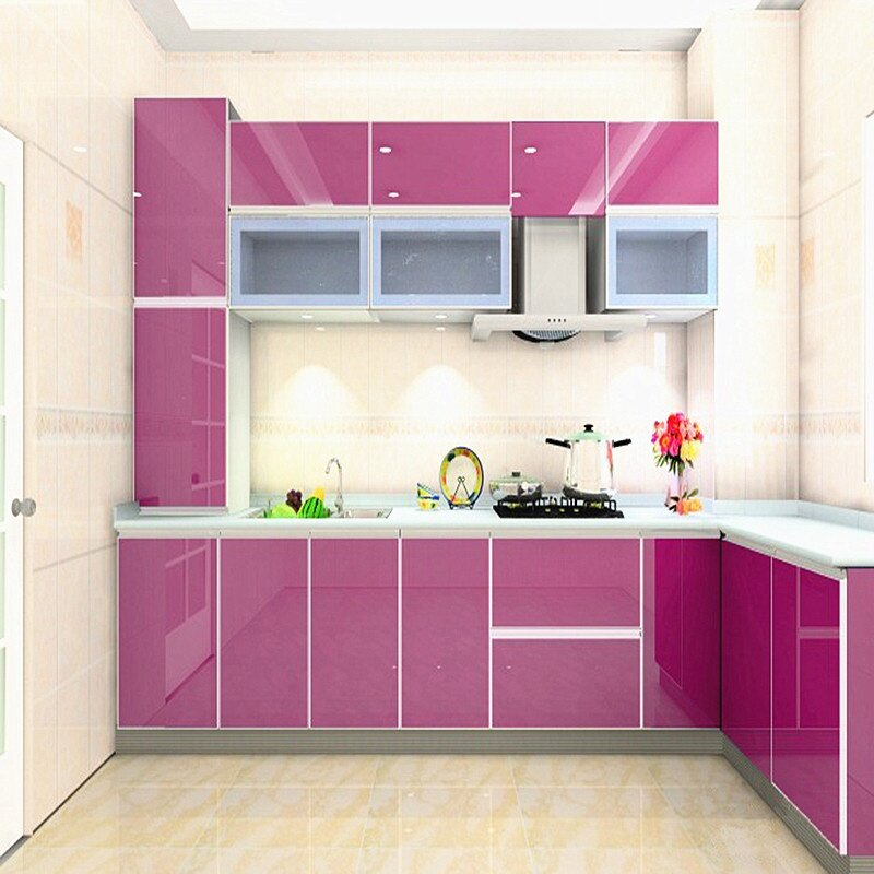 Product details of New Glossy PVC Waterproof Self adhesive Wallpaper For Kitchen Cabinet Wardrobe Cupboard Contact Paper Home Decor Wall Stickers 60X 400CM