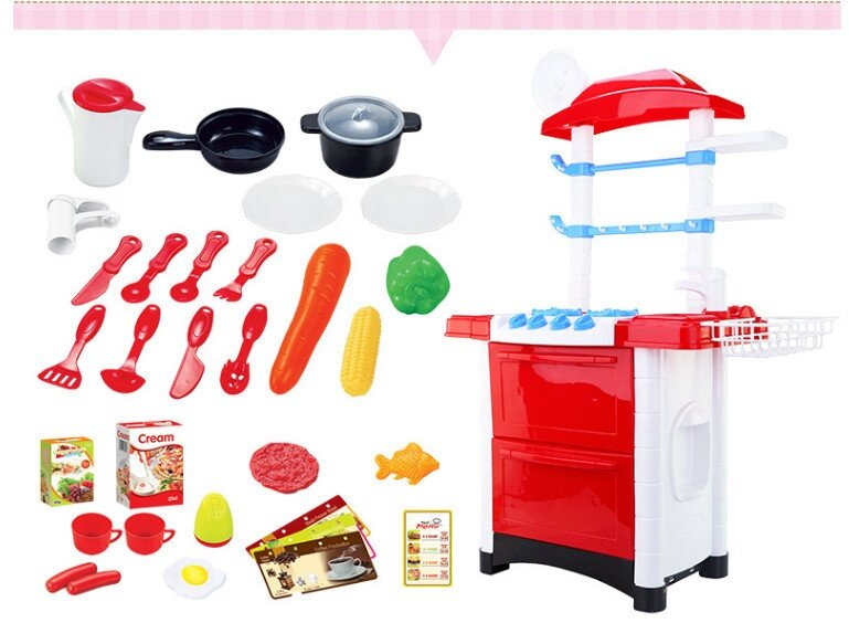 Big size 87cm kids kitchen play set pink lazada malaysia for Kitchen set for 9 year old