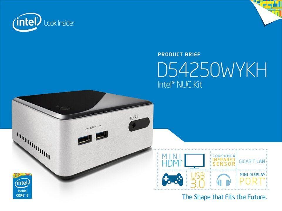 Intel NUC Kit D54250WYKH Mini PC (Core i5 2 6Ghz Processor, Intel HD, Wifi,  Bluetooth, Support 2 5 Hard Disk + SSD)