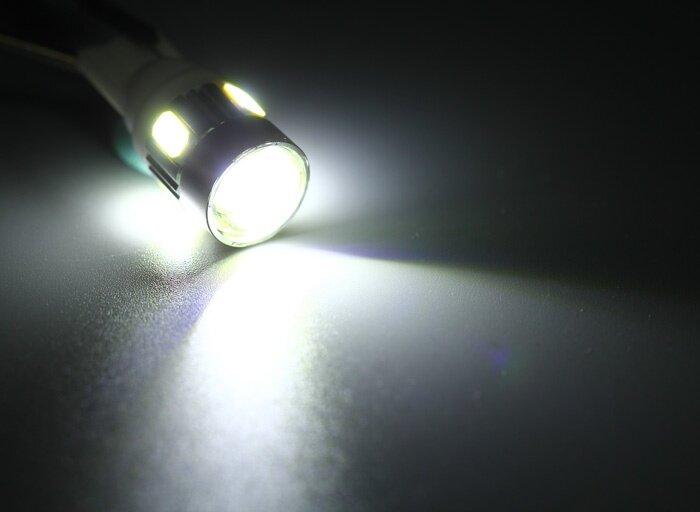 2pcs T10 DC 12V 0.5W SMD 5630 6 LEDs Car License Plate Lamp Bulb with Lens - White Light