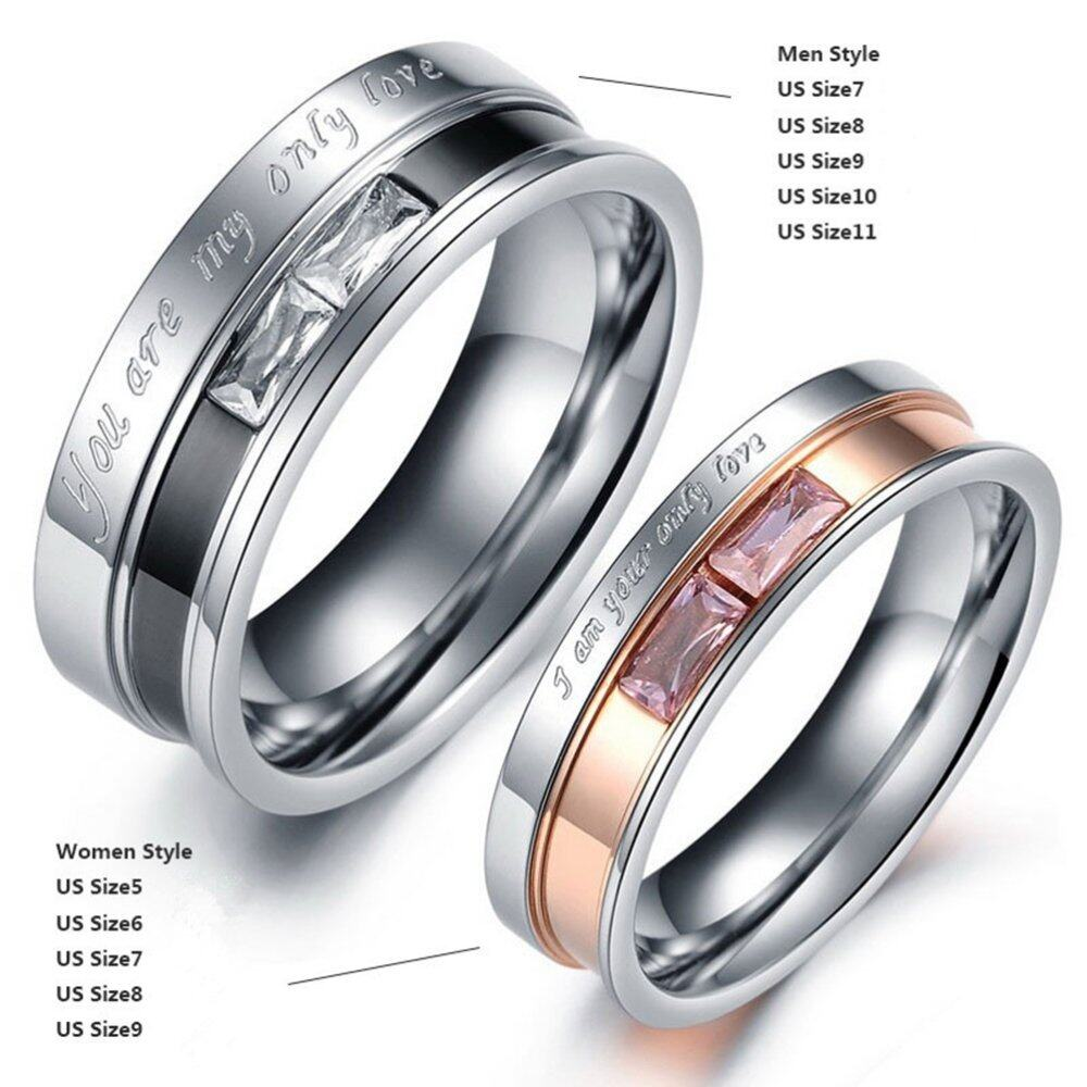You Are My Only Love Titanium Steel Promise Ring Couple Wedding ...