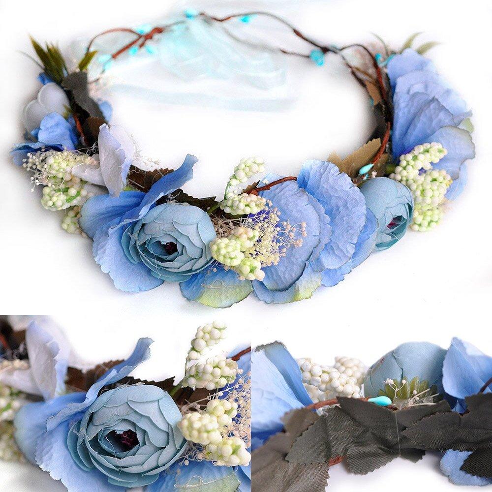 Adjustable headband boho flower crown floral wedding crown blue lazada photo hs0014st2g izmirmasajfo