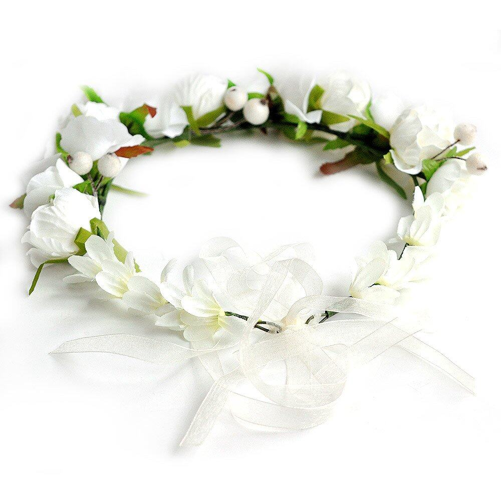 Boho flower crown headband wedding bridal floral cream lazada photo hs001505g izmirmasajfo