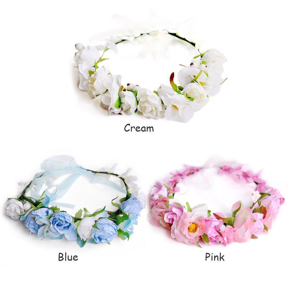 Boho flower crown headband wedding bridal floral cream lazada photo hs001501g izmirmasajfo Image collections