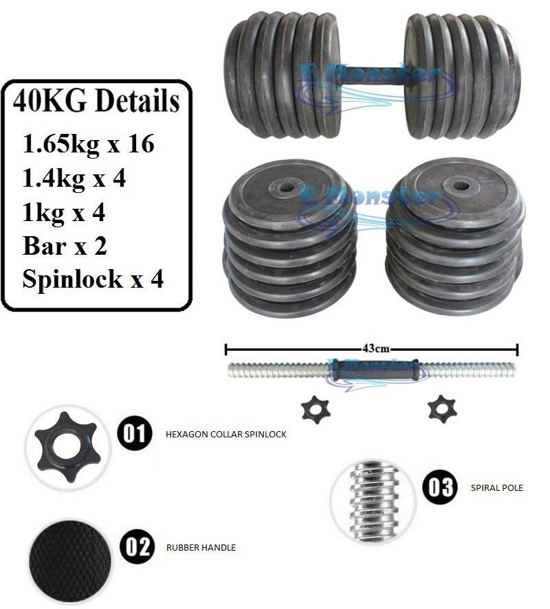 Adjustable Dumbbells Malaysia: Gym Quality Dumbbells Rubber Adjustable Dumbbell 40Kg