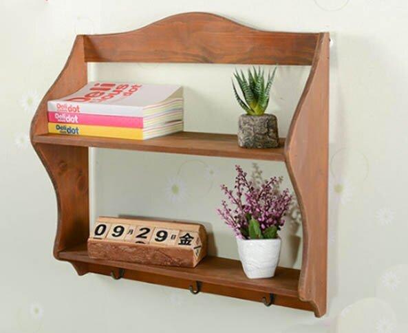 Zakka Kitchen Wooden Hanging Cabinet   2 Shelf With 3 Hooks ... Part 71