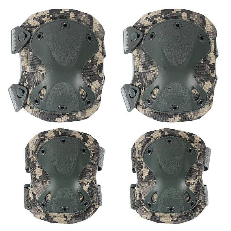 ... Material: Nylon+ Polyester+ Plastic Color: Black/ Green/CP Camouflage/ACU Camouflage Knees Pad Size: Approx 19 x 16cm Elbows Pad Size: Approx 17 x 14cm