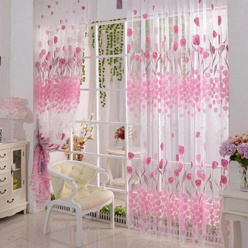 2pcs Tulip Flower Sheer Curtains Sheers Voile Tulle Window Curtain ...