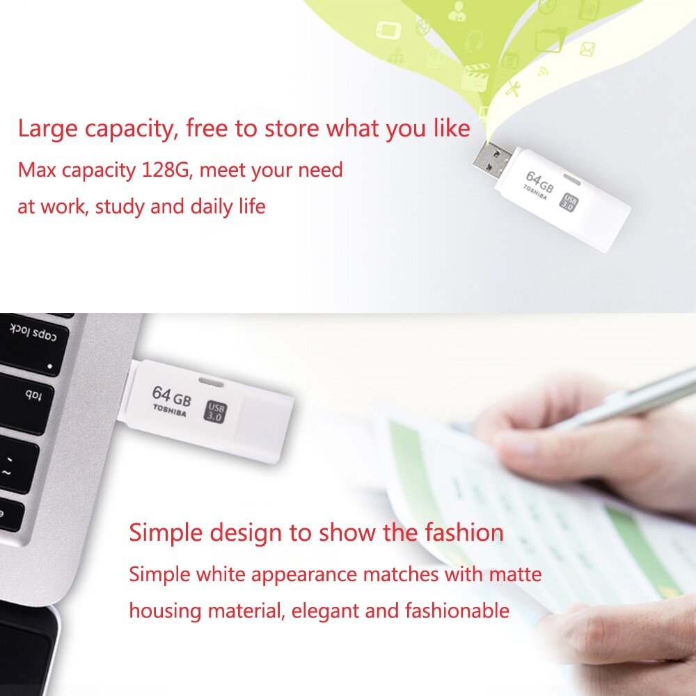 Toshiba 32gb Usb 30 Transmemory Hayabusa U301 Flash Drive White Disk 16gb Original For Quick And Easy Transfers Of Music Video More Its Practical Design Fashionable Appearance Make It Perfect Daily Use