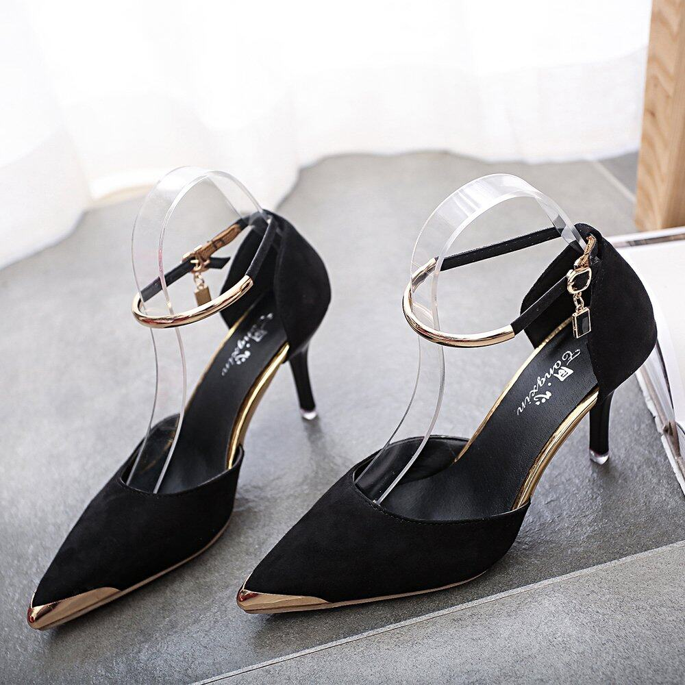 Women Pointed Toe Suede Buckle Strap Pumps Shoes (Black) | Lazada Malaysia