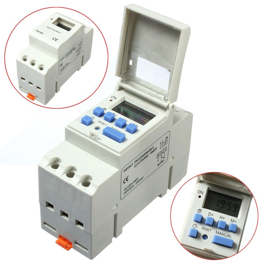 Delay timer price harga in malaysia lelong ac 220v 16a din rail digital programmable timer relay delay switch m publicscrutiny Image collections
