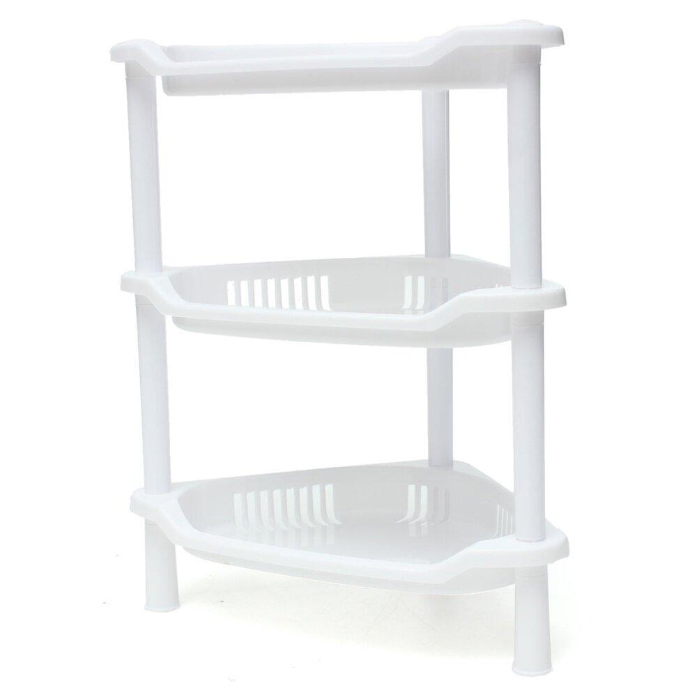 3 Tier Plastic Corner Shelf Unit Organizer Cabinet Bathroom Kitchen Storage Rack White Lazada