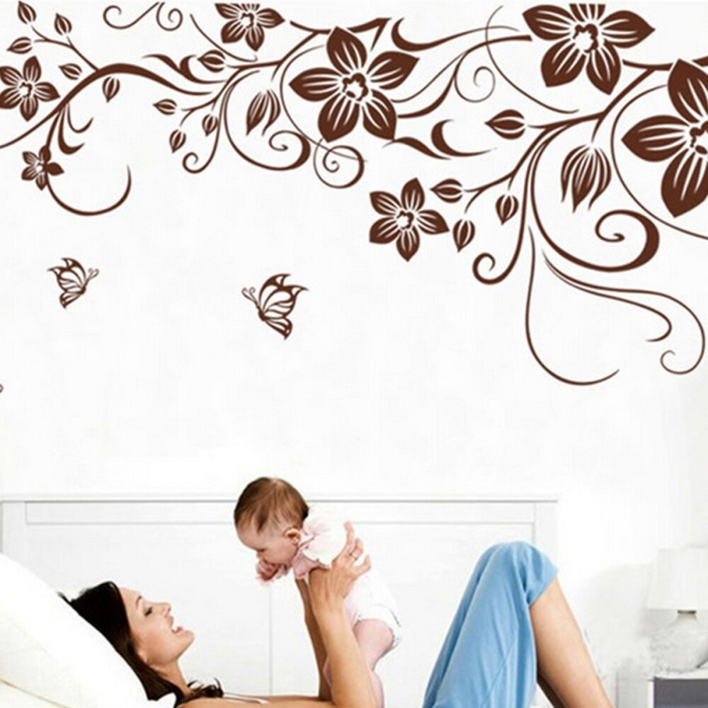 butterfly flower removable vine vinyl wall sticker decal home room package included 1 x diy vine flower butterfly removable vinyl wall decals sticker