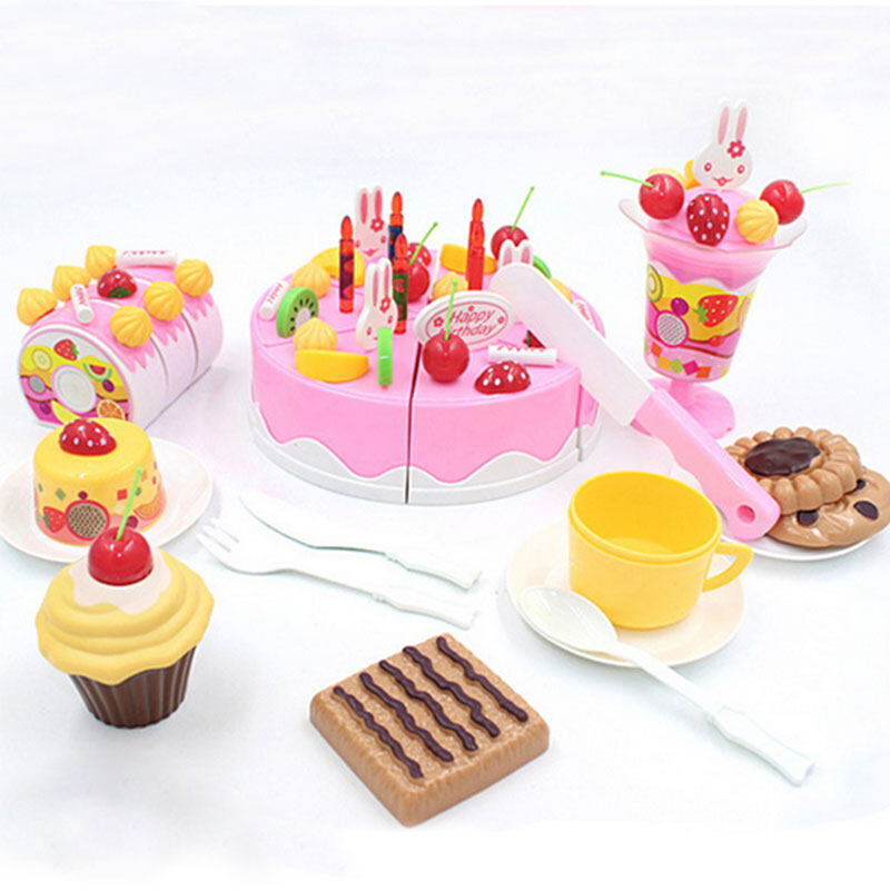 75Pcs/Set Plastic Kitchen Cutting Birthday Cake Toy Gift