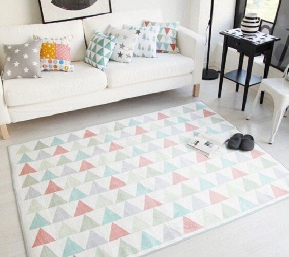 White triangle carpet fiber living room decor rug 40x60cm for Room decor lazada