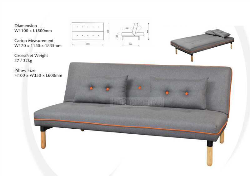 Osmo sofa bed sleeper grey lazada malaysia for Sofa bed lazada
