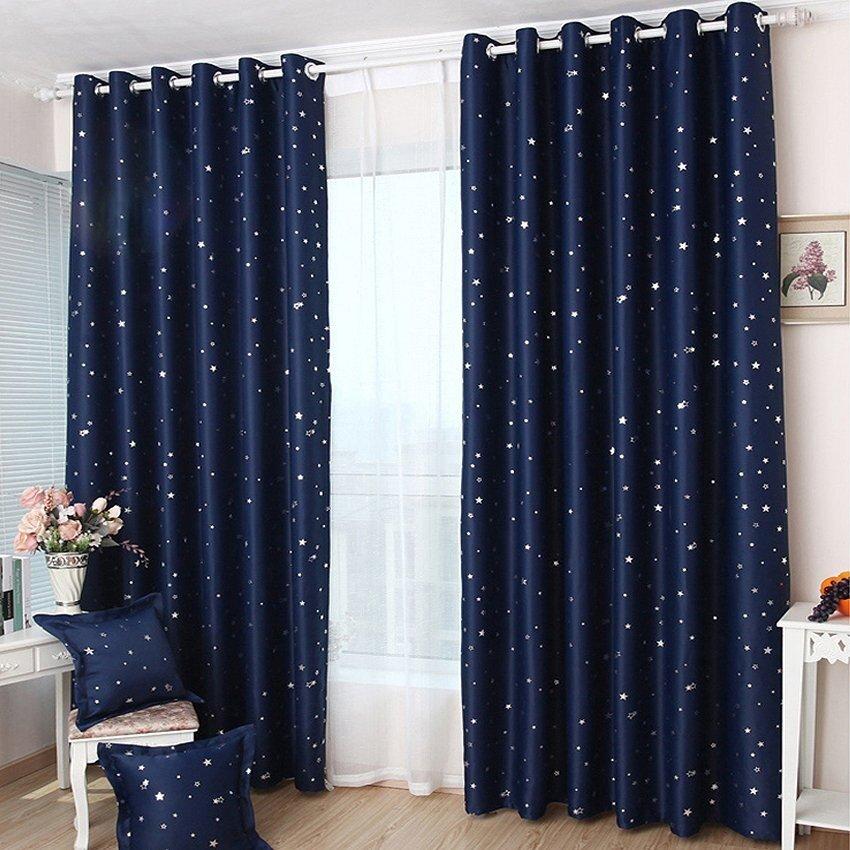 Yika 1pcs 100 250cm Blackout Star Pattern Curtain Navy