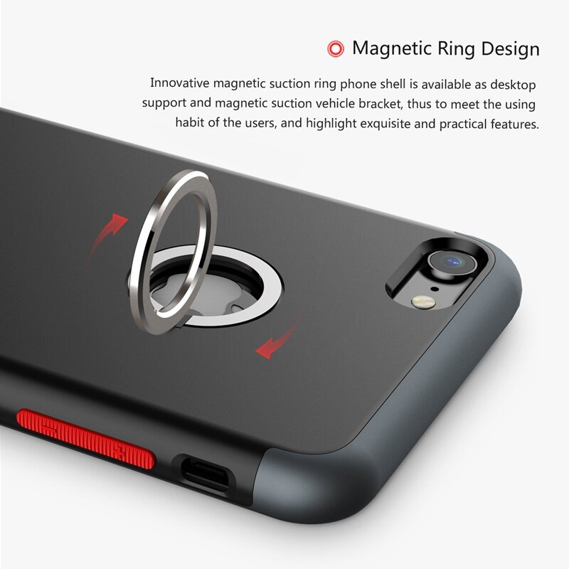 the latest 1742c abaa9 Baseus Magnetic Ring Protective Case for iPhone 7 Plus 5.5' (Blue)