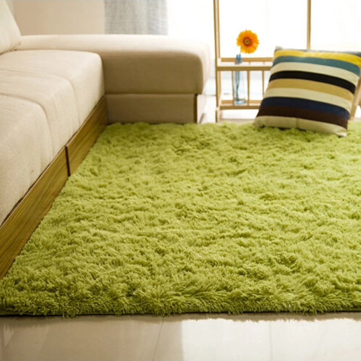 Generic Shaggy Anti-skid Carpets Rugs Floor Mat/Cover 80x120cm Grass Green