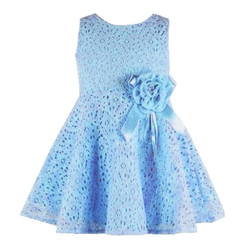 f046a002c Elegant lace design with flower. Girls round collar sleeveless dress ...