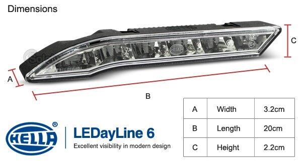 Hella LEDayline 6 Daytime Lights 12V DRL LED Complete Kit
