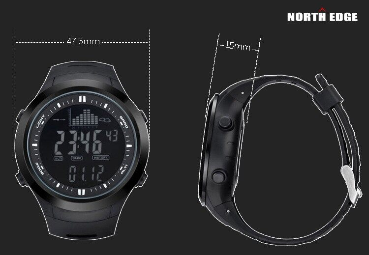 North edge digital watches men watch with weather forecast for Barometric pressure forecast for fishing