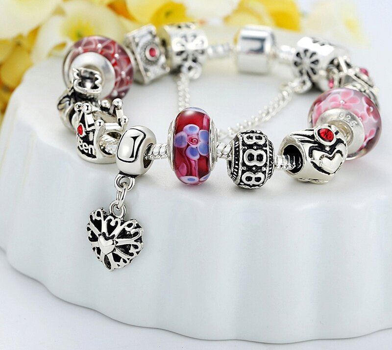 olen silver charms bracelet and bangles with crown