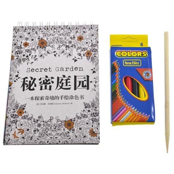 Set Of 5 Mini Coloring Book Color Pencil Secret Garden