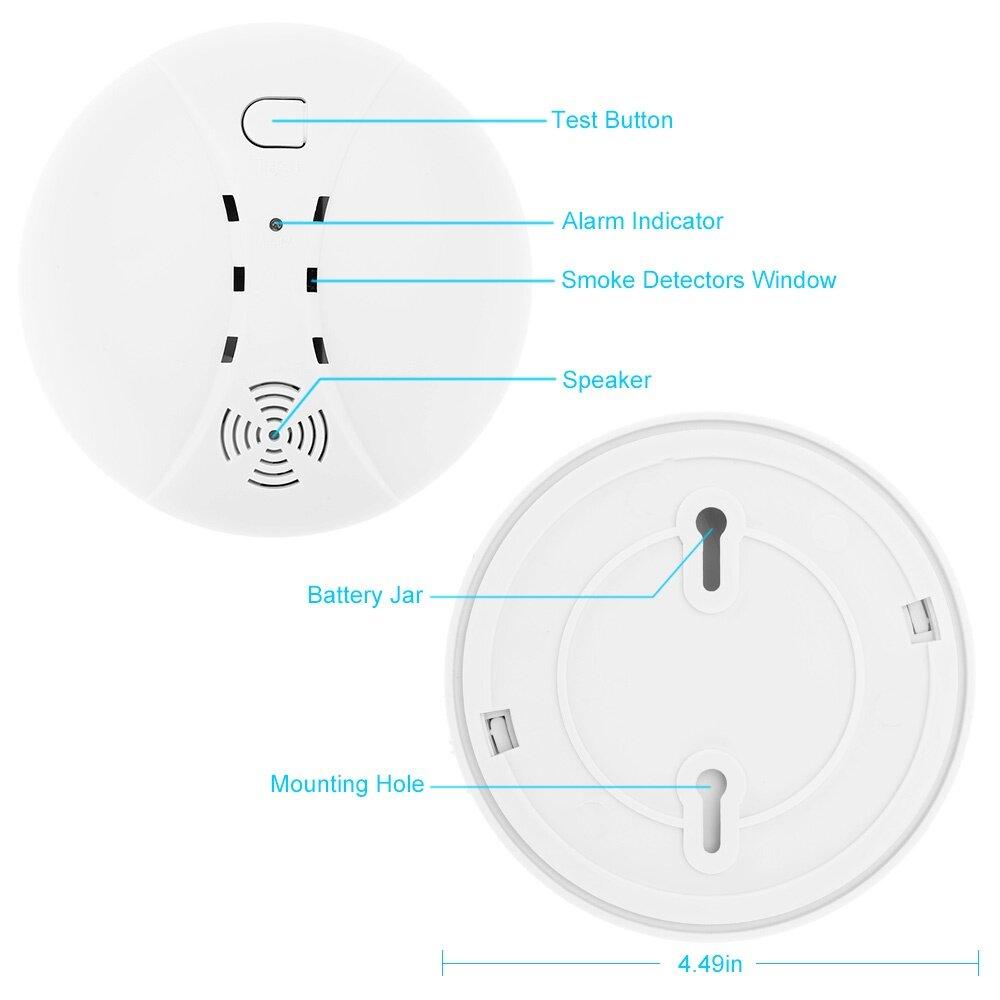 wireless photoelectric smoke detector high sensitive stable fire alarm sensor monitor for home. Black Bedroom Furniture Sets. Home Design Ideas