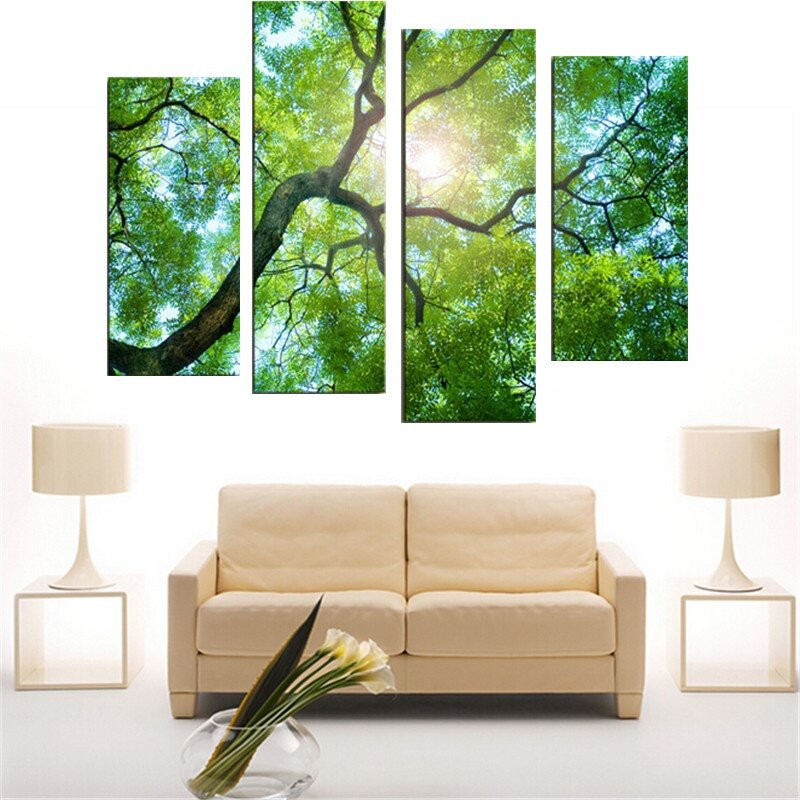 30x80cm 4 panels no frame green tree painting canvas modern painting wall art picture home. Black Bedroom Furniture Sets. Home Design Ideas