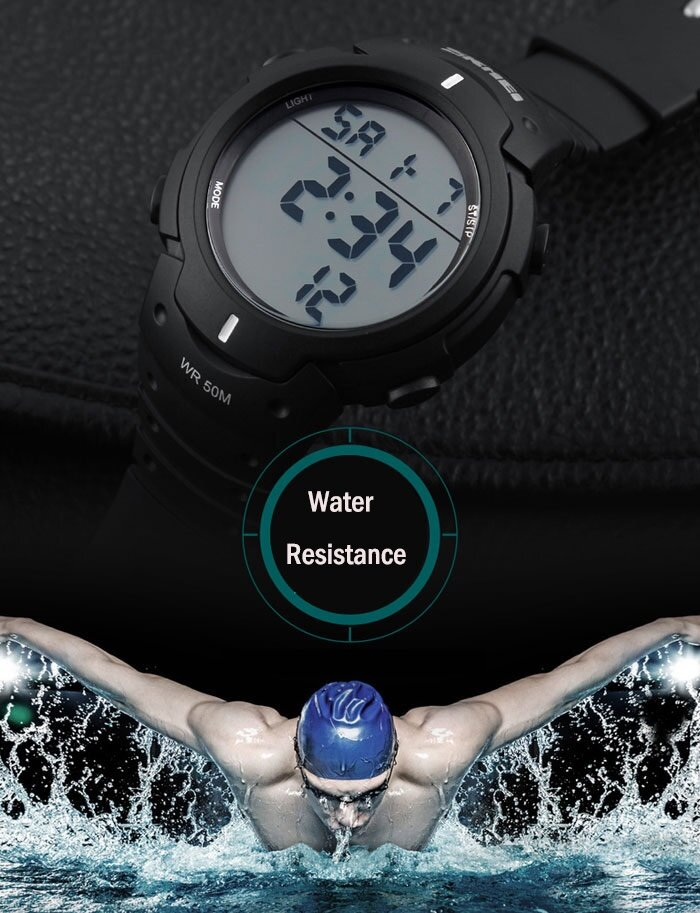 Skmei 1068 Military Army LED Watch Water Resistant Stopwatch Alarm Day Date Function