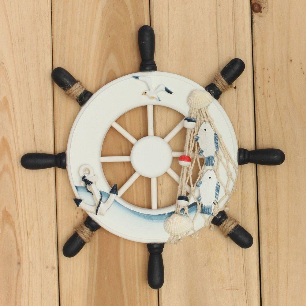 Wood boat ship wheel nautical decoration beach home rudder for Ship decor home