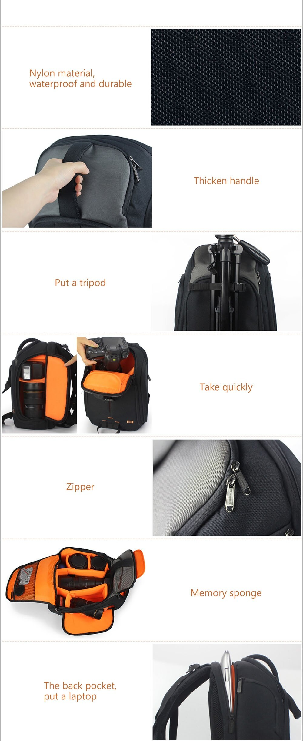 PROWELL DC21402 DSLR Camera Photography Backpack