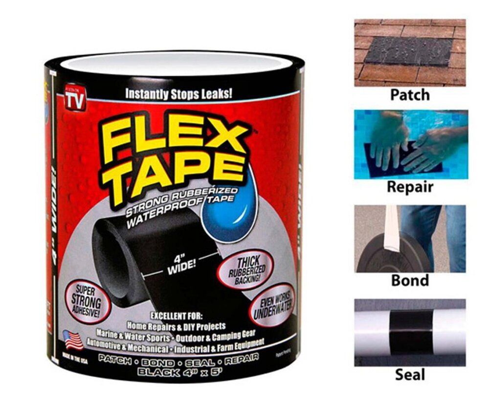 Flex Tape 4' Wide Waterproof Seal Stop Leaks Tape