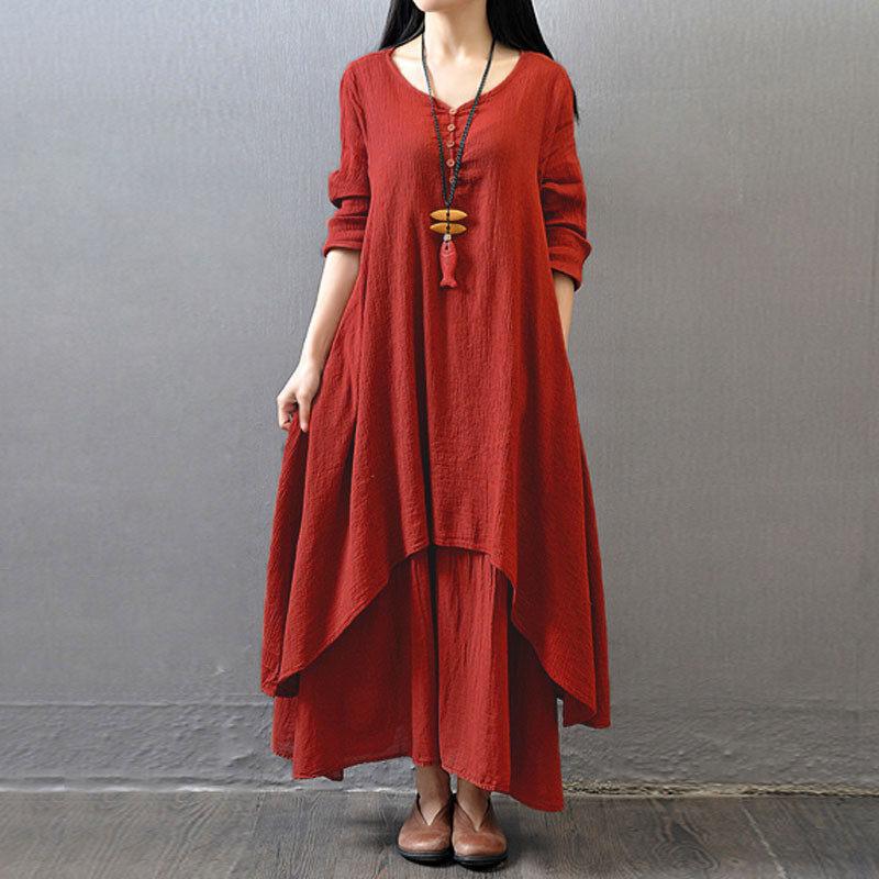8f7651a156 ZANZEA Women Autumn Dress Fashion Plus Size Elegant Loose Full Sleeve V  Neck Dress Casual Solid Cotton Linen Boho Long Maxi Dress   Lazada PH