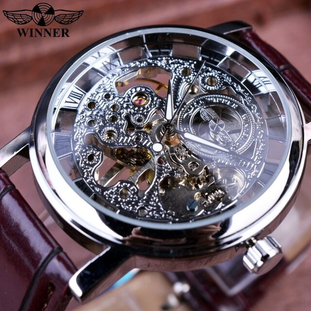 Product details of Winner Classic Retro Design Transparent Golden Case Back Mens Watches Top Brand Luxury Automatic Male Mechanical Skeleton Watch