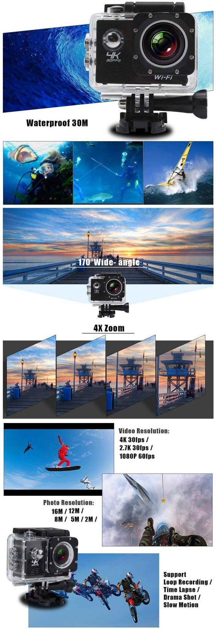vfocs Wifi 4K 30fps Action Sports Camera Waterproof Camcorder with