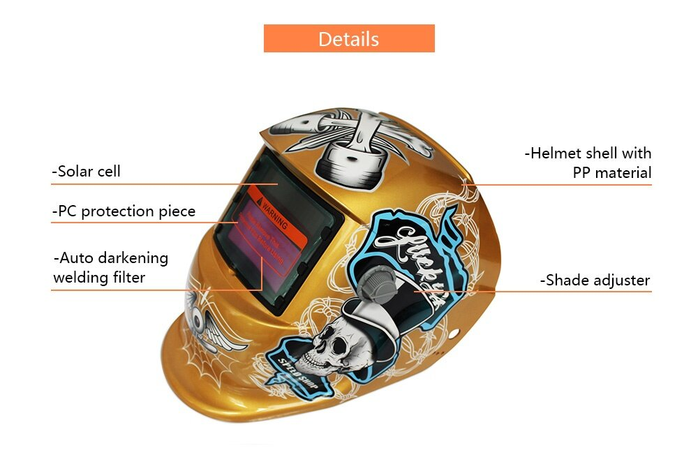 Solar Energy Automatic Changeable Light Electric Welding Protective Helmet with  Pirate Pattern
