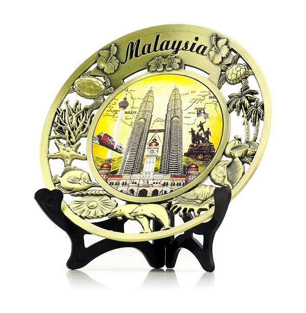 KLCC Malaysia Petronas Twin Towers Souvenior Metal Plate with Stand Display Gift
