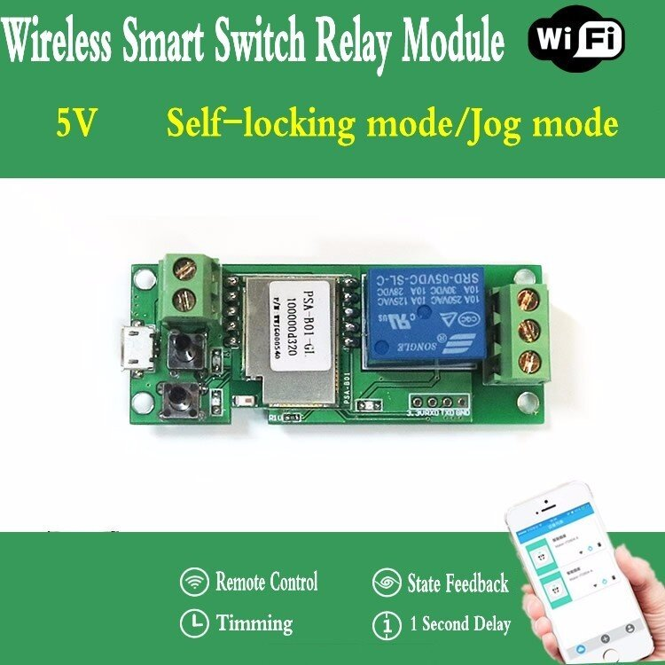 5V Sonoff WiFi Wireless Phone APP Control Smart Switch Relay Module For  Smart Home Via IOS Android