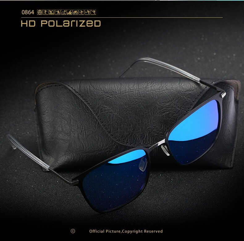 Product details of Men's sunglasses new box polarized sunglasses P0864 metal driver sunglasses sunglasses(Gold baked black + gray)