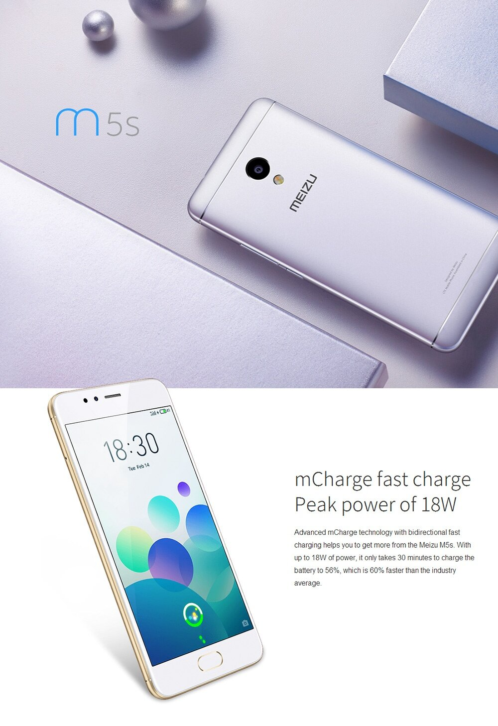 MEIZU M5S 5.2 Inch 3GB RAM 32GB ROM 5.0MP+13.0MP Cam MT6753 Octa Core 1.3GHz 4G LTE Flyme 5 Smartphone Quik Charge Metal Body Touch ID - Silver