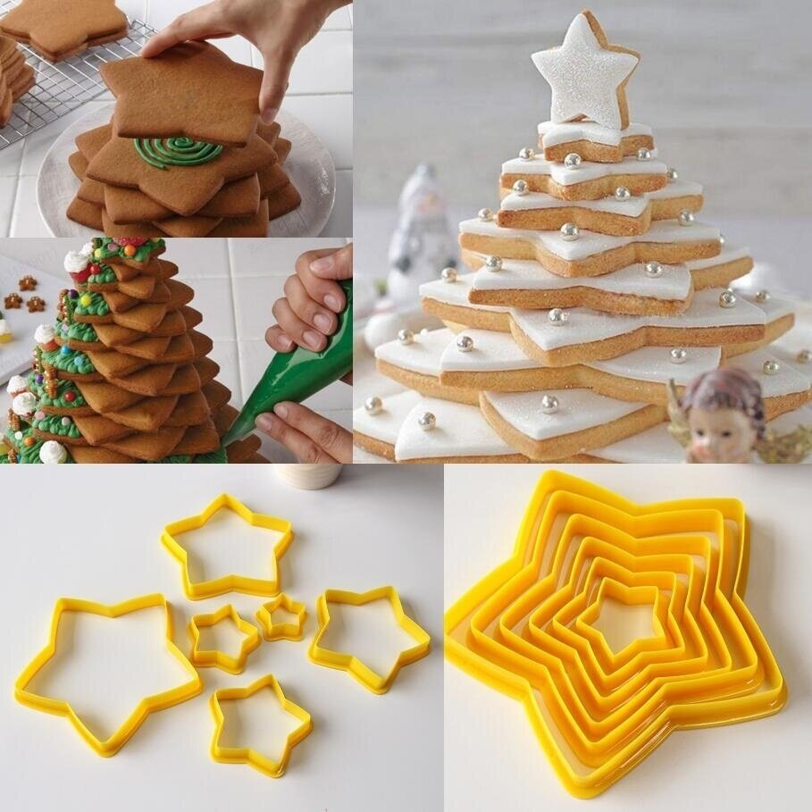 Details About 6pcs 3d Diy Star Christmas Tree Cookies Cake Cutter Mold Set Baking Tool