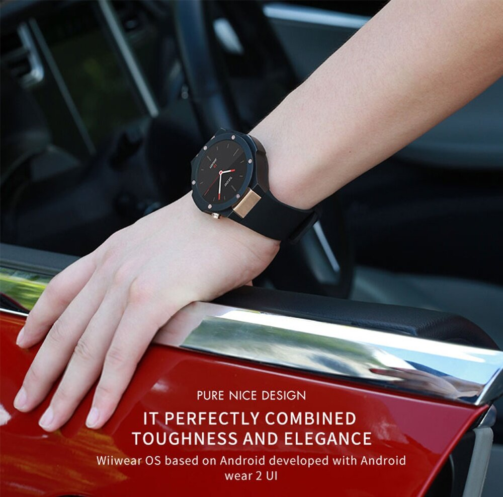 Microwear H2 3G Smartwatch Phone 1.39 inch Android 5.0 MTK6580 1.0GHz Quad Core 16GB ROM 5.0MP Camera Heart Rate Monitor Pedometer GPS