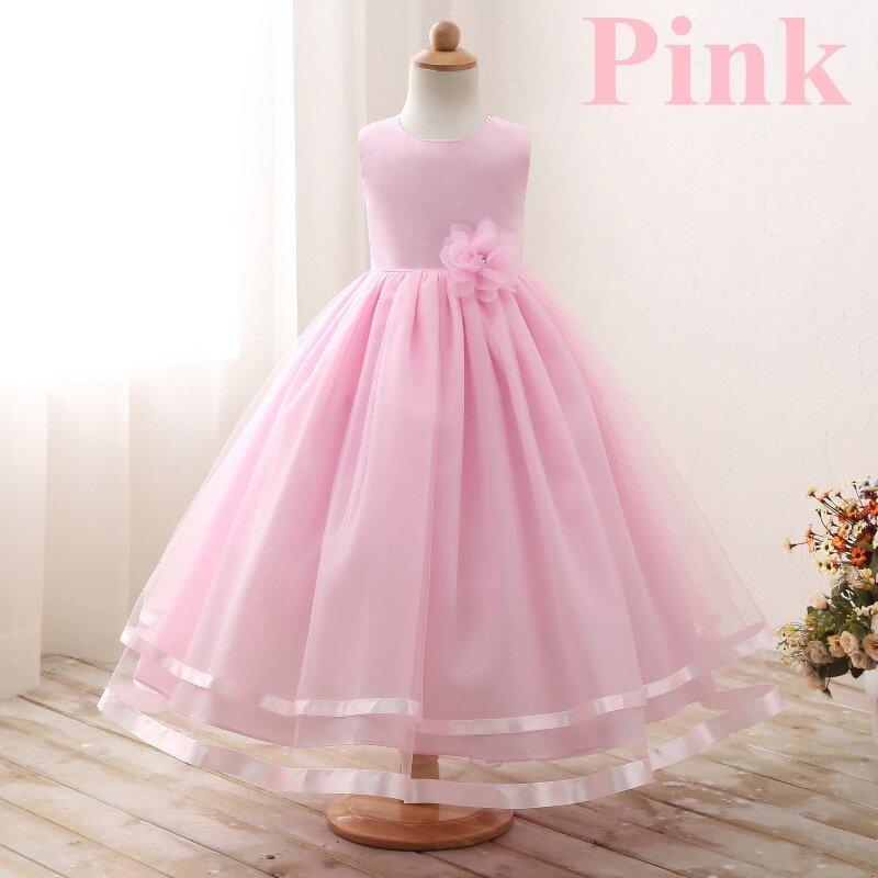 Kids tulle long dress wedding flower girl princess dresses children ...