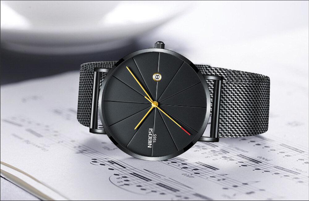 NIBOSI watch men black quartz wristwatches stainless steel mesh brand watches men ultra thin quartz relogio masculino dourado (13)