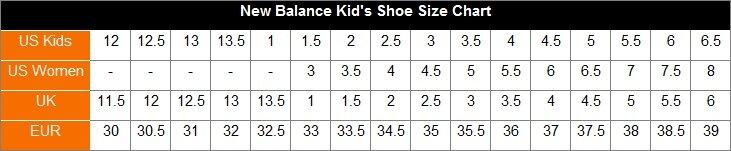 New Balance Kid's Shoe Size Chart