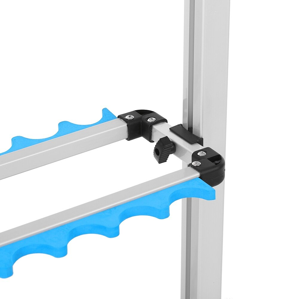 This fishing rods rack can accomodate up to 24 fishing rods and keep them neat in